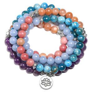 Natural Pedra 108 Mala Bracelet For Men Angelite Apatite Sunstone 8MM Beads pulseiras Mulheres Yoga Meditação Lotus Charme Jóias