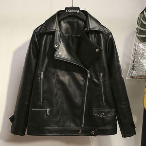 Más el tamaño de PU de las mujeres de la chaqueta de cuero de imitación Moda Motocicleta Coats 5XL chaqueta de otoño invierno Black Jackets