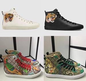 Hombres diseñadores zapatillas de deporte zapatillas altas zapatillas impresas con botas de cuero genuino con gato enojado Tiger Dragon Sneaker para hombres Tamaño de las mujeres 35-45