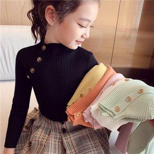 Ins Yeni Küçük Çocuk Kızlar Tees Ön Eğik Düğmeler Prenss Pamuk Tişörtleri Tops Bahar Tam Kollu Moda Kız T-Shirt Tops