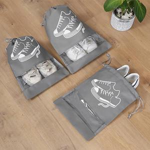 Sac de rangement chaussures portable Ménage Voyage Chaussures Sacs Anti-poussière transparent étanche Cordon de réglage Mêle pochette de rangement DHF2933