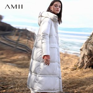 Amii Minimalist mit Kapuze langen Daunenjacke Winter-Frauen-beiläufige Thick Tasche Fest wasserdichte weiße Daunenjacke Parka 11870303