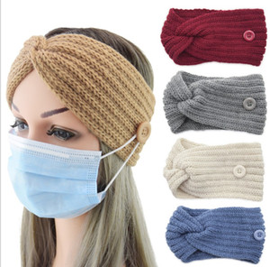 Fashion Button Headband Warm Knitted Autumn and Winter Hair Accessories Cross Ear Protection Headgear