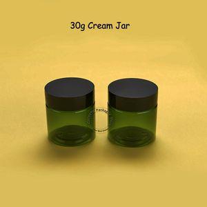 100pcs / lot Atacado 30g de plástico creme Jar verde Hand Cream Garrafa Mulheres Cosmetic Container 1OZ recarregáveis Vial corpo