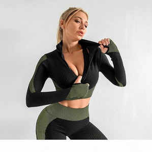Herbst Mode Marke Designer Womens Yoga Anzug Drei Teil Set Langarm Leggings BH Sportbekleidung Gymshark Fitness Sport Kleidung Runner Set