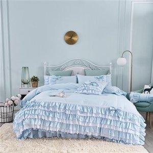 الكورية الرعوية تنورة نمط كعكة الطبقات الأزرق القطن الفراش مجموعة الأميرة الرباط الكشكشة التطريز وسادة sham duvet غطاء مجموعة