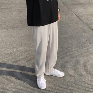 Calças retas plissadas Moda cor sólida Elastic cintura masculina de calças casual Homens Streetwear soltos japoneses Silk Ice Calças Mens