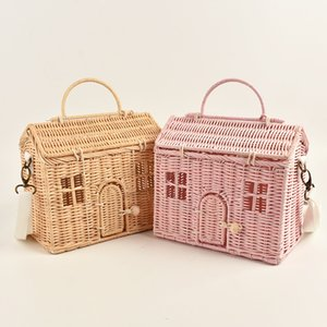 Nordic Style INS Fashion Handmade Rattan Vintage Basket bag Kids Shoulder Bag House Shape Best Gift for Girls Crossbody bag 201006