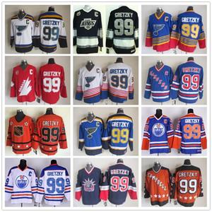 الجليد هوكي 99 وين Gretzky جيرسي رجال رينجرز لا الملوك زيتي سانت لويس بلوز واين جريتزكي الفانيلة كل ستار أزرق أبيض أحمر