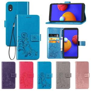 Cas Flip téléphone portable pour Samsung A1 noyau en cuir PU chanceux Motif Clover Leaf Quatre Portefeuille avec Dragonne (Modèle: A1CORE)