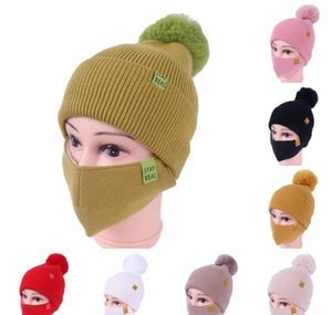 Shipping Womens Girls Knit Beanie Cap With Face Mask Set Soft Warm Lined Winter Ski Pompom Hat Outdoor Cycling 8 Colors Yyu7A