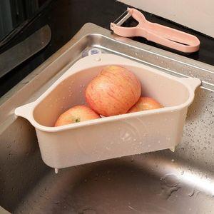 Triângulo de drenagem Cesta Kitchen Sink filtro vegetal rack de sucção Bandeja Sink Filtros de Frutas Legumes Wash Cesta de armazenamento ferramenta AHD1162