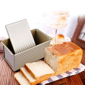 Loaf Pan With Cover Bread Baking Mould Cake Toast Non-Stick Toast Box with Lid Gold Aluminized Steel Bread Mould Bread Mold 201029