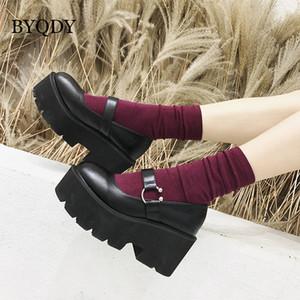 BYQDY Platformu Yüksek Topuklar Kadın Ayakkabı PU Deri Kadın İşçi Ayakkabı artırılması Yuvarlak Kafa Mary Jane ayakkabı Siyah Yükseklik LJ200928
