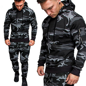 Mens Tracksuits Casual Joggers 2 Pieces Sets Autumn Hooded+pants Camouflage Suit Gym Zipper Sportswear Sweat Suits Men's Clothes
