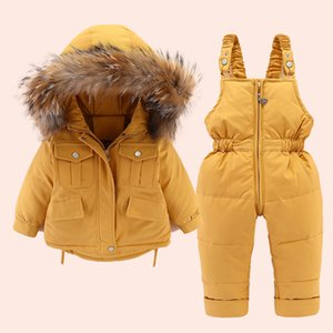 Baby Girl winter down jacket and jumpsuit for children Thicken Warm fur collar jacket for girls Infant snowsuit 0-4Year
