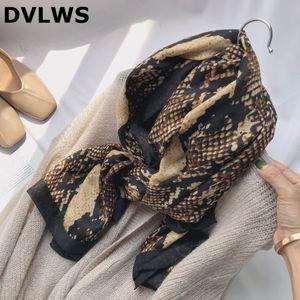 DVLWS Moda Otoño Invierno bufanda de la piel de serpiente Impreso bufanda principal poliéster de alta calidad con costura mujeres Hijab bufandas Band Set