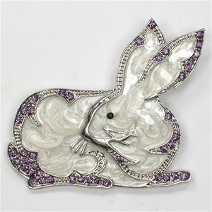 12pcs lot Wholesale Fashion Brooch Rhinestone Enamel Bunny Easter Pin brooches Jewelry gift C101966 201009