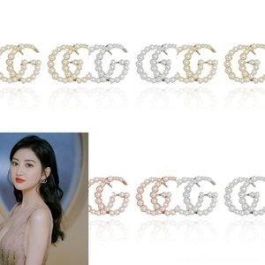vZ9iE Big pérola da gota da água Zirconia G Brincos carta casamento para as mulheres ouro na moda Bead Brinco Stud partido Acessórios Jóias Presentes