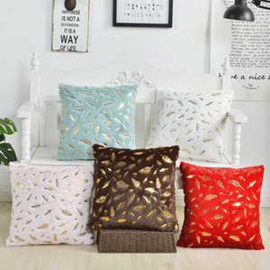 Short Plush Throw Pillow Covers 43*43cm Super Soft Throw Pillow Case for Home Couch Leaf Bronzing Cushion Covers OWB4675