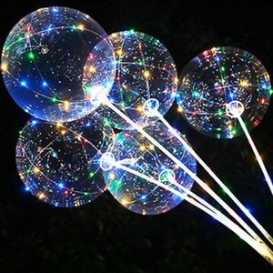 Lidar com Led balão com paus Luminous Transparente festa de aniversário do casamento Ballons Hélio Bobo Detalhes no Kid Led Light Balloon qylfOl