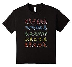 Kühlen neue Sommer-T-Shirt Gebärdensprache T-Shirt ASL Lehrer Hand Alphabet Learning-T-Shirt Sport T-Shirt Hoodie