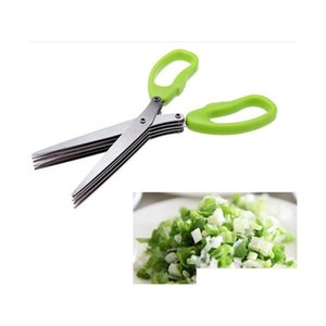 Stainless Steel Cooking Tools Kitchen Accessories Knives 5 Layers Scissors Sushi Shredded Scallion Cut H jlljEX lajiaoyard