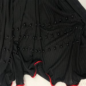 pleated one side redline D12 soft luxury jersey Scarf hijab with diamonds and pearls For netherlands Islamic muslim Women