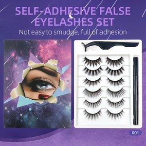 Thick Natural Long Self-adhesive False Eyelashes 6 Pairs Set None Glue Magnetic Fake Lashes Handmade Reusable With Eyeliner + Tweezer DHL