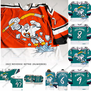 1995-96 Anaheim Mighty Ducks Wild Wing Jersey 5 DIRK 6 Don McSween 8 Teemu Selanne 9 Paul Kariya 11 Valeri Karpov Custom Hockey Jerseys