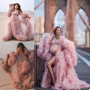 Pregnant Photo Bathrobe Pajam Robe Sexy Long Sleeves Lace Tulle Gowns Custom Made Bathrobe Mesh Prom Bridesmaid Shawl 2021