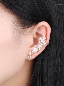 Stud Fashion Luxury Leaves Stud-Earrings Ear Climbers Women Bohemian Wedding Jewelry Asymmetry Earrings-Jackets Accessories Mujer1