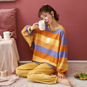 Nightwa женщины Pajamas набор осенью новый мультфильм ромашка напечатана с длинным рукавом милые пижамы повседневная домашняя одежда женская пижама ночной костюм 201029