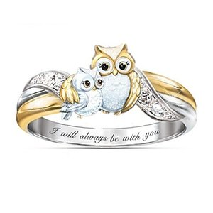 fashion Animal series dolphin heart ring for women and girls rose artificial diamond ring parent child Owl Ring Party Favor T2C5288