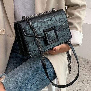 Stone Pattern PU Leather Crossbody Bags For Women 2020 Small Shoulder Simple Bag Female Luxury Chain Handbags And Purses Q1110