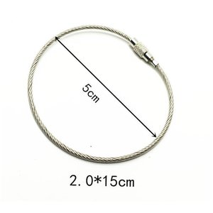 30cm Edc Keychain Tag Rope Stainless Steel Color Wire Cable Loop Screw Lock Gadget Ring Key Keyring Circle Camp Hang jllxGB