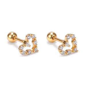 Heart Shaped Ear Studs With Crystal Rhinestones Surgical Steel Earrings Body Piercing Jewelry For Women and Teen Grils