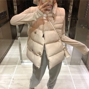 2020 Women Winter Sleeveless Vests 3 Colors Autumn Covered Button Casual Warm Outwear Coat Black White Female WaistCoat