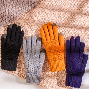Touch Screen Saver Saver Warm Knit Five Finger Glove da maglia per gli amanti degli studenti