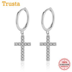 Trustdavis genuino minimalista 925 plata esterlina blanco brillante CZ Cruz Pendientes de plata para las mujeres chica DA513 joyería 925