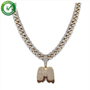 Iced Out Pendant Hip Hop Jewelry Designer Necklace Bubble Letter Diamond Pendant Gold Cuban Link Chain for Men A~Z Luxury Charms Accessories
