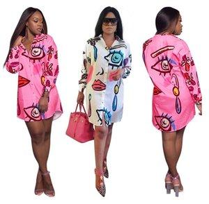 New Women's Shirt Dress Floral Print Graffiti Shirt Positioning Printing Button one-step dress Blouses tops for AutumnH5O4RGOQ