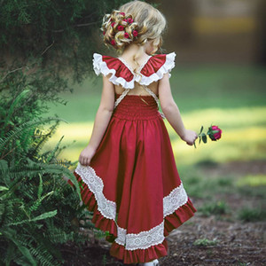 Girls Dress fashion red color kids clothes lace Gilrs Dress Suspenders Floral Princess Dress 1-6Y Kids Baby Girls
