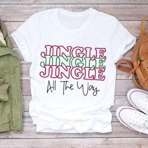 Women Christmas Letter Clothing Kawaii Holiday Fashion Print Lady T shirts Top Tshirt Ladies Graphic Female Tee T Shirt
