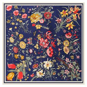 LESIDA Чистый шелковый шарф Женщины Большие шали Цветочный дизайн Квадратные шарфов Echarpes Foulards Femme Wrap банданы 130 * 130см 200930