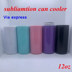 Transferencia de la sublimación puede refrigerador calor delgado recto en blanco se Aislante flaco doble pared de acero inoxidable vacío refrigerador bricolaje YFA2636 regalo