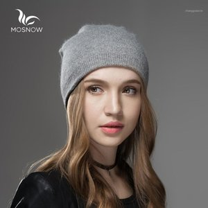 Mosnow Winter Chapéus para mulheres 2020 Nova lã sólida Assimétrica Marca de malha casual chapéu quente feminino cullies beanies Bonnet1