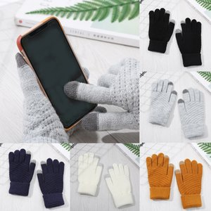 Free DHL 5 Colors Knitted Touch Screen Gloves Warm Wool Plus Velvet Thick Brushed Cycling Gloves for Women Men Winter Gifts