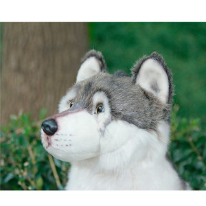 Dropshipping Cuddly Wolf Plush Toy Lifelike Soft Stuffed Animal Adorable Plushy Kids Doll Fluffy Birthday Gifts for Children Boy 201012
