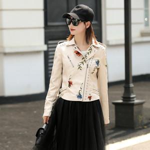 LY VAREY LIN 여성 인조 가죽 자켓 자수 오토바이 블랙 펑크 재킷 코트 리벳 지퍼 여성 가짜 재킷 겉옷 201016